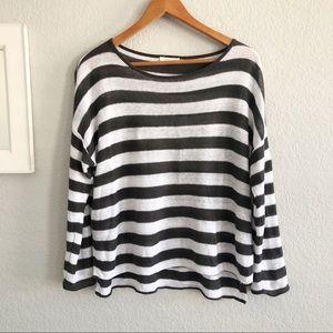 Eileen Fisher Striped Organic Linen Knit Sweater